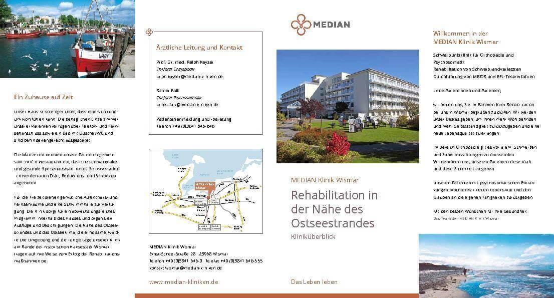 Infobroschüre Kliniküberblick der MEDIAN Klinik Wismar